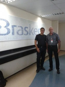 Carlos Amaral e Denis Matias, da Braskem, após o término da Palestra